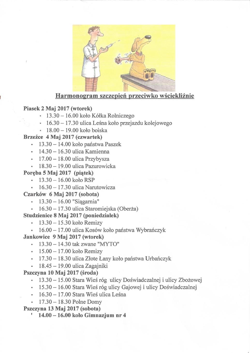 Harmonogram Szcepień